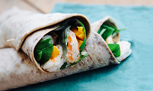 shrimp mango wrap sandwich